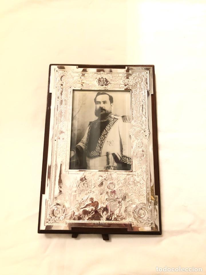 Antigüedades: Portafotos Art Deco, plateado y madera 27 x 18 cm - Foto 5 - 194081570