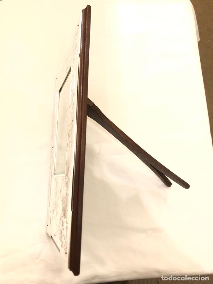 Antigüedades: Portafotos Art Deco, plateado y madera 27 x 18 cm - Foto 6 - 194081570