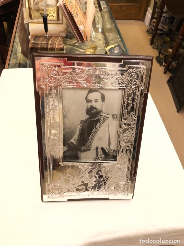 Antigüedades: Portafotos Art Deco, plateado y madera 27 x 18 cm - Foto 7 - 194081570