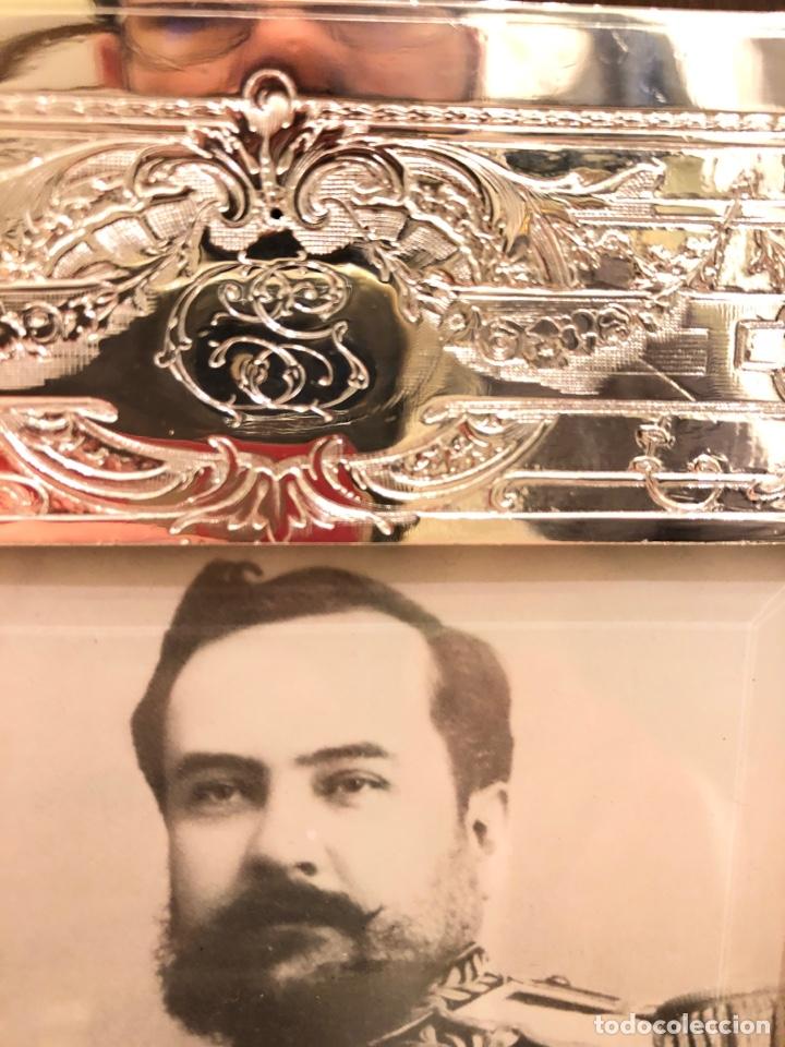 Antigüedades: Portafotos Art Deco, plateado y madera 27 x 18 cm - Foto 10 - 194081570