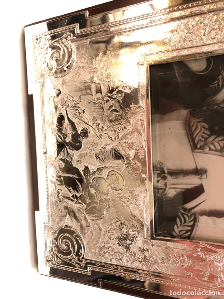 Antigüedades: Portafotos Art Deco, plateado y madera 27 x 18 cm - Foto 11 - 194081570
