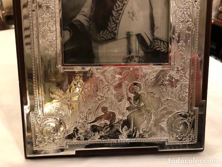 Antigüedades: Portafotos Art Deco, plateado y madera 27 x 18 cm - Foto 12 - 194081570