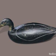 Antigüedades: PATO DE MADERA ANAS RUBRIPES. RECLAMO DE CAZA - BLACKDUCK WORKING DECOY BY MACDONALD.. Lote 194085875