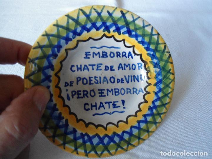 ANTIGUO PLATO/CENICERO CON REFRAN POPULAR (Antigüedades - Porcelanas y Cerámicas - Triana)