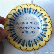 Antigüedades: ANTIGUO PLATO/CENICERO CON REFRAN POPULAR. Lote 194101546