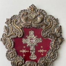Antigüedades: RELICARIO DEL XIX , GRAN TAMAÑO 28X23 CM. JESUS DEL GRAN PODER , VIRGEN DE LOS REYES , ROCIO. Lote 194120591