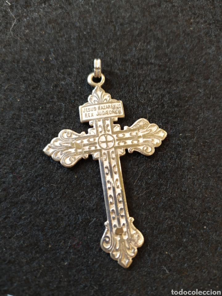 Antigüedades: Cruz de plata, corazón de Jesús con inscripcion. - Foto 2 - 194122262
