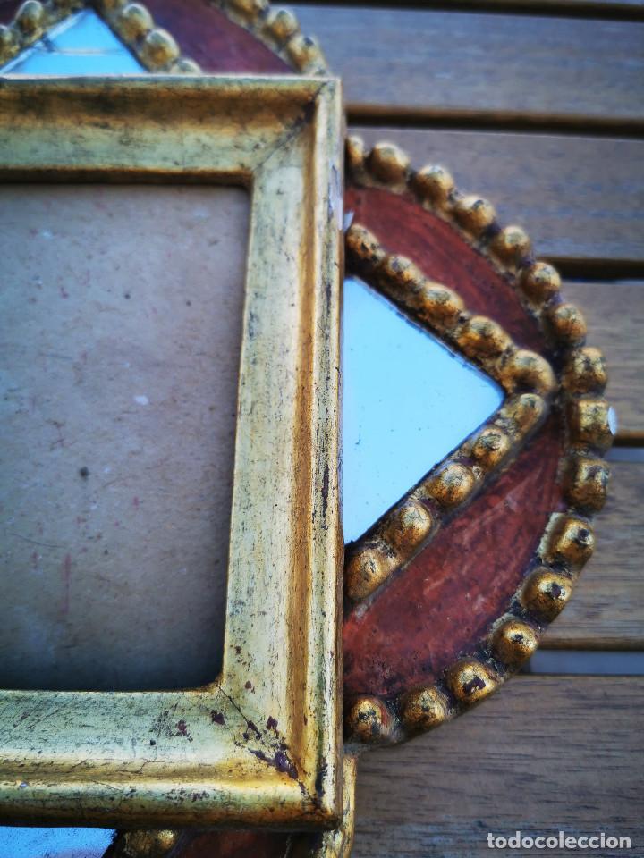 Antigüedades: LOTE 3 ESPEJOS MADERA PERU PINTADOS A MANO - MARCO DE FOTO - PORTAFOTOS - Foto 3 - 194134136
