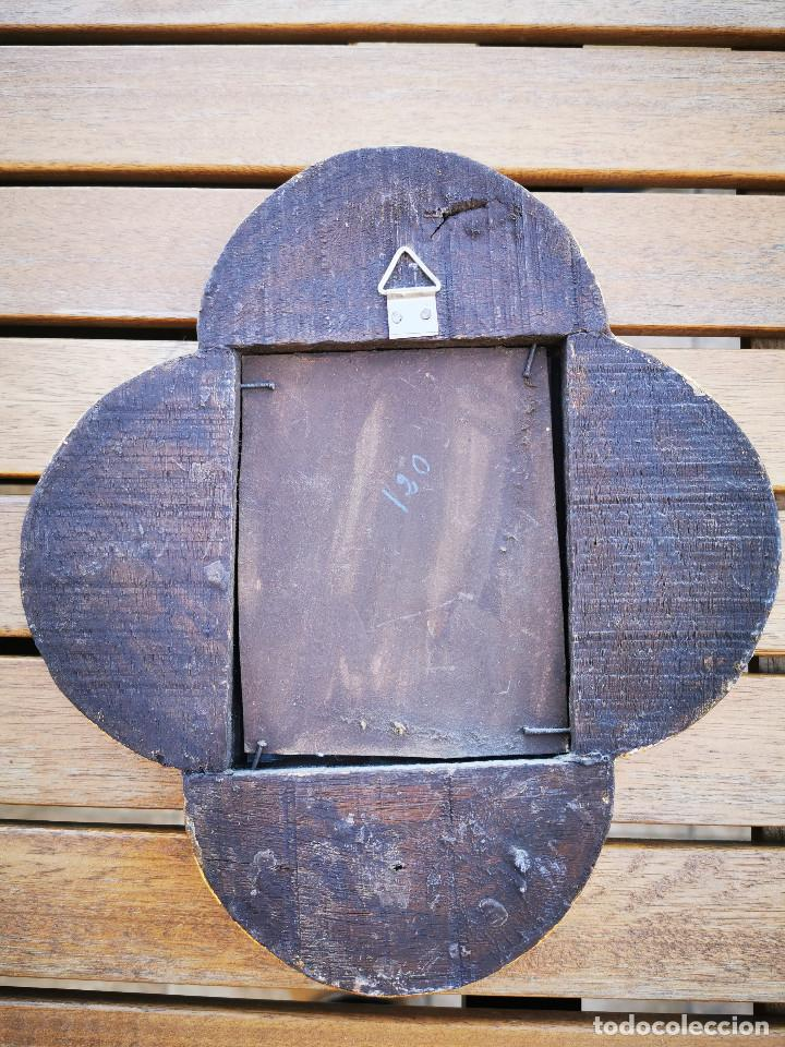 Antigüedades: LOTE 3 ESPEJOS MADERA PERU PINTADOS A MANO - MARCO DE FOTO - PORTAFOTOS - Foto 11 - 194134136