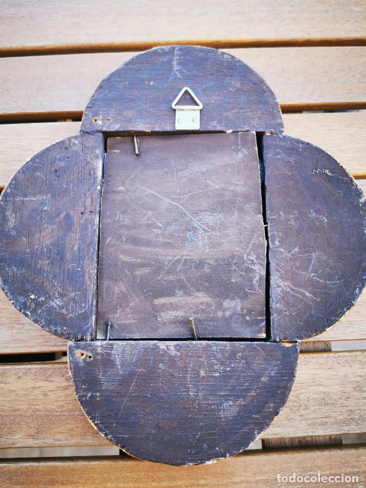 Antigüedades: LOTE 3 ESPEJOS MADERA PERU PINTADOS A MANO - MARCO DE FOTO - PORTAFOTOS - Foto 15 - 194134136