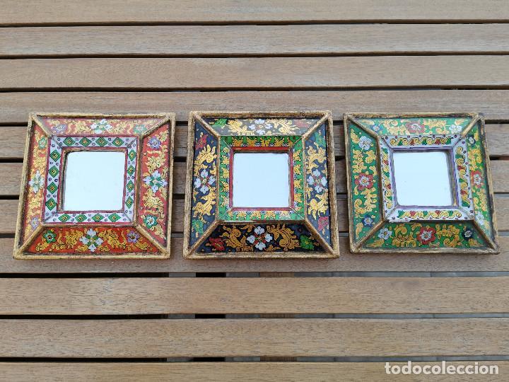 LOTE 3 ESPEJOS MADERA PERU PINTADOS A MANO - MARCO DE FOTO - PORTAFOTOS (Antigüedades - Muebles Antiguos - Espejos Antiguos)