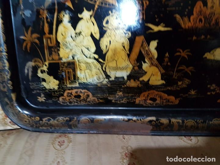 Antigüedades: ENORME Y ANTIGUA BANDEJA EN HOJALATA ESCENAS CHINESCA SG.XIX. ISABELINA - Foto 2 - 194139681