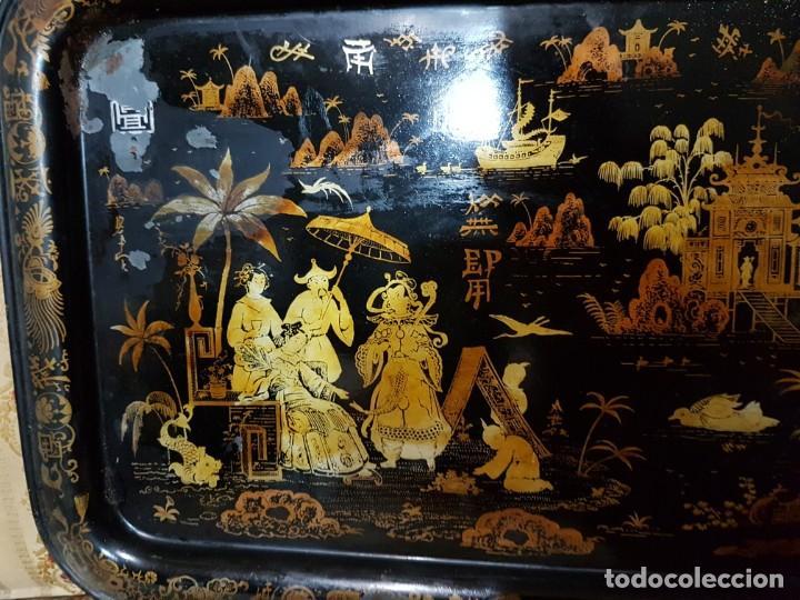 Antigüedades: ENORME Y ANTIGUA BANDEJA EN HOJALATA ESCENAS CHINESCA SG.XIX. ISABELINA - Foto 3 - 194139681