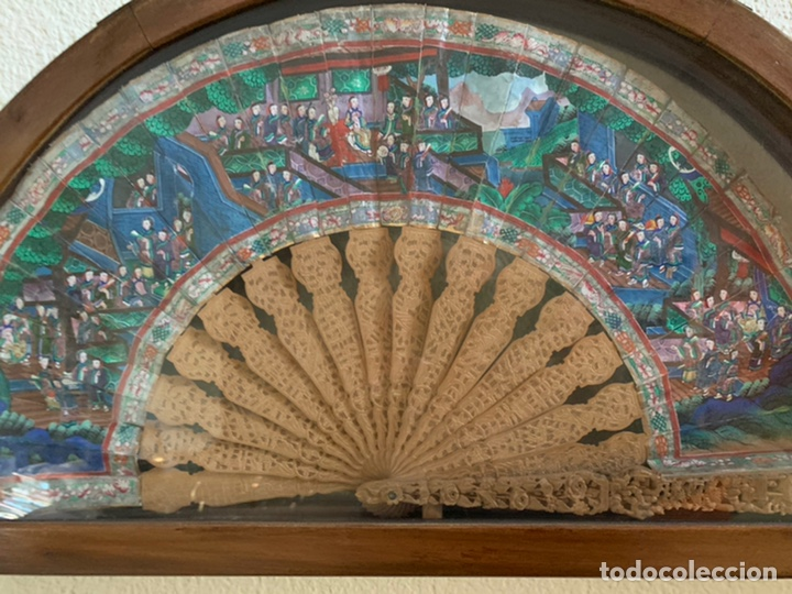 Antigüedades: Abanico chino siglo XIX con abaiquera , - Foto 2 - 194141705