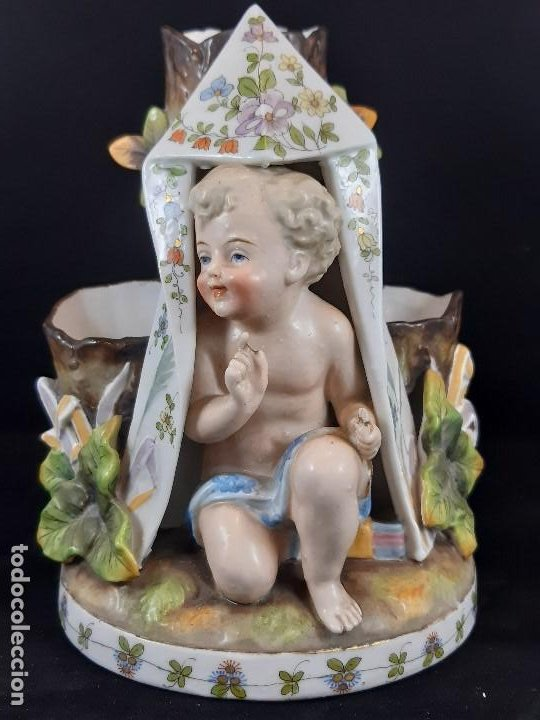 FIGURA JARRÓN FLORERO. PORCELANA, PLAUE. ALEMANIA. SIGLO XIX. (Antigüedades - Porcelana y Cerámica - Alemana - Meissen)