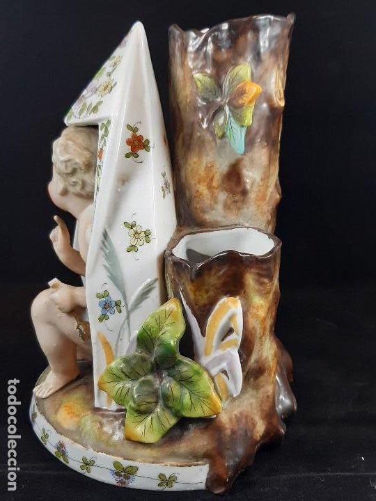 Antigüedades: Figura jarrón florero. Porcelana, Plaue. Alemania. Siglo XIX. - Foto 5 - 194154108