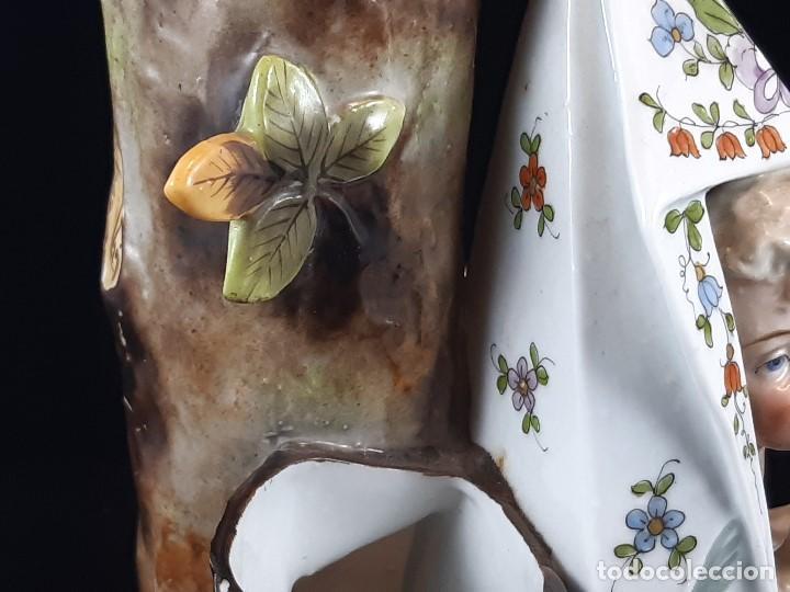 Antigüedades: Figura jarrón florero. Porcelana, Plaue. Alemania. Siglo XIX. - Foto 22 - 194154108