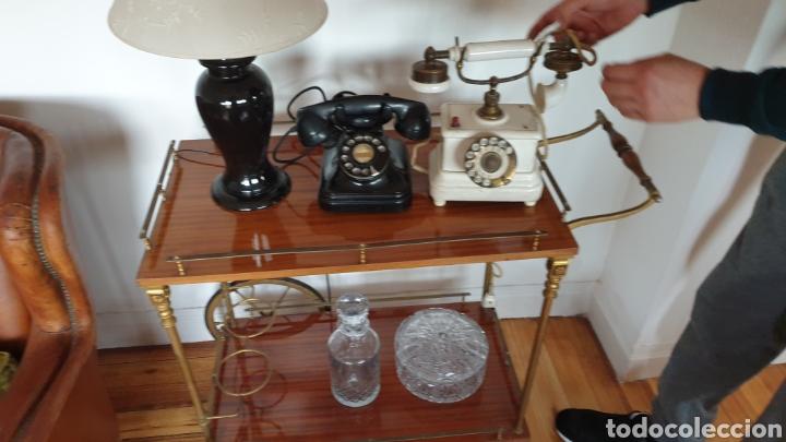 Antigüedades: Carrito antiguo para bebidas , caoba y bronce - Foto 2 - 194164332