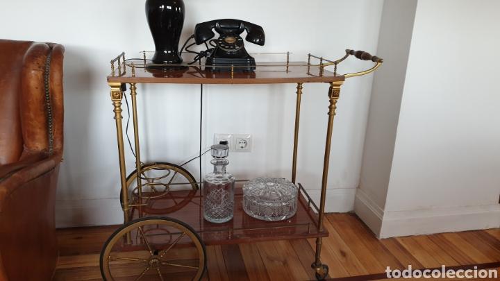 Antigüedades: Carrito antiguo para bebidas , caoba y bronce - Foto 5 - 194164332