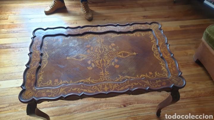 Antigüedades: Mesita antigua en madera de caoba y marquetería estilo luis xv - Foto 4 - 194166242