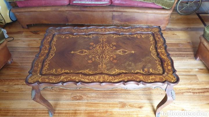 Antigüedades: Mesita antigua en madera de caoba y marquetería estilo luis xv - Foto 5 - 194166242