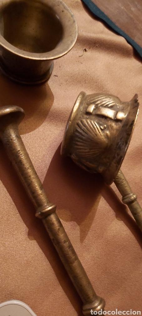 Antigüedades: Mortero bronce sigloviiiconpleto - Foto 2 - 194166718