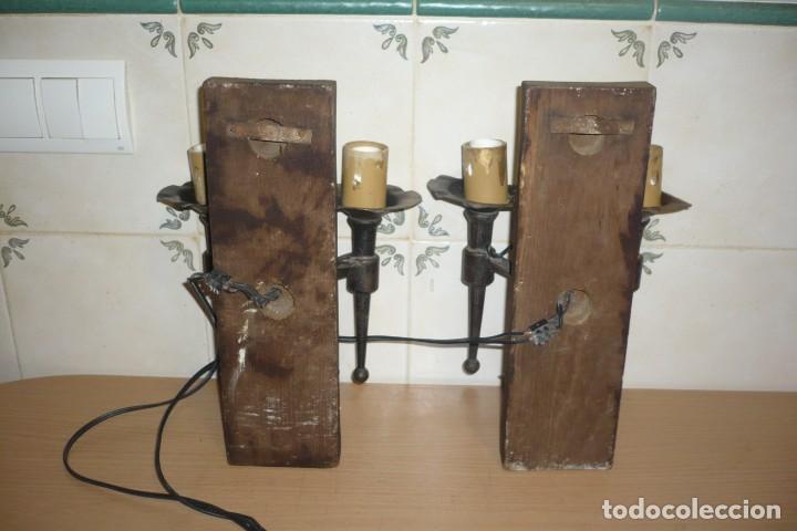 Antigüedades: 2 Antiguos Apliques de Forja y Madera - Foto 6 - 194167173
