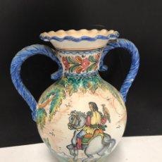 Antigüedades: GRAN JARRÓN DE CERÁMICA ESMALTADA PUNTE DEL ARZOBISPO SIGLO XIX. Lote 194188472