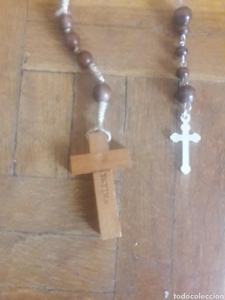 Antigüedades: 2, rosarios, cuentas de madera, Fátima y Juan Pablo II - Foto 2 - 194194228