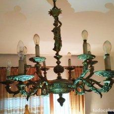 Antigüedades: LAMPARA DE BRONCE ANTIGUA. Lote 194198430