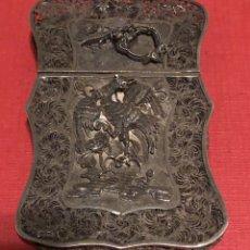 Antigüedades: SOBERBIO TARJETERO CHINO ANTIGUO, EN FILIGRANA DE PLATA. FINALES S.XIX.. Lote 194199627