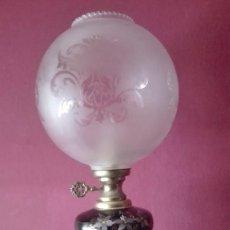 Antigüedades: LAMPARA QUINQUE PINTADA A MANO. Lote 194212253