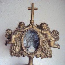 Antigüedades: (ANT-200278)ANTIGUO RELICARIO DE MADERA DE SAN AGUSTIN - CRISTAL. Lote 194217055