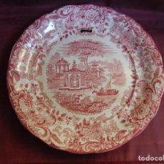 Antigüedades: PLATO FUENTE GRANDE PICKMAN-CARTUJA-SEVILLA.PAISAJE EN CARMIN.32.5 DIAMETRO Y 4.5 CM ALTO.. Lote 194226600