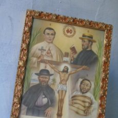 Antigüedades: CUADRO RELIGIOSO PADRE DAMIAN LÁMINA ENMARCADA PADRE DAMIÁN.AÑOS 30. Lote 194228192