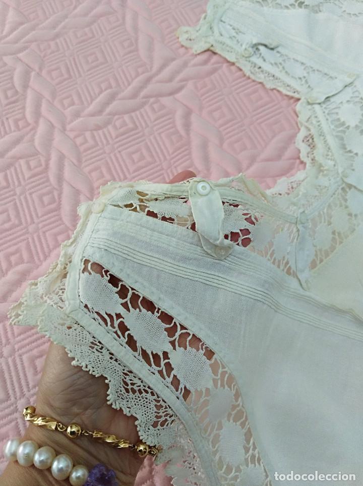 CAMISON DE HILO - FINALES SIGLO XIX - TALLA APROX. 50 ACTUAL (Antigüedades - Moda y Complementos - Mujer)
