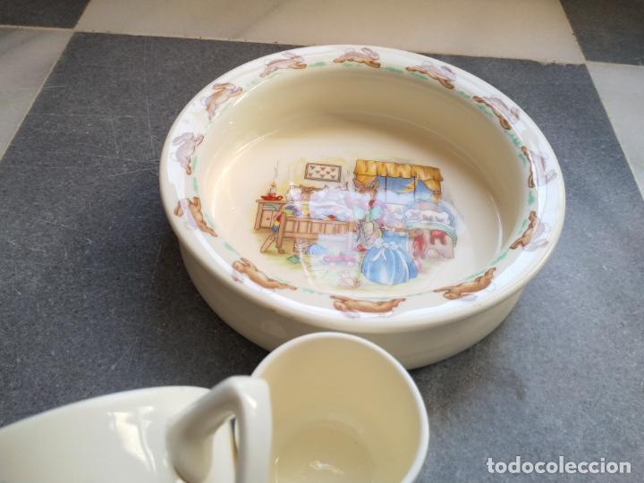 Antigüedades: Juego de tres piezas bebe porcelana Inglesa Royal Doulton Bunnykins - Foto 2 - 194233697