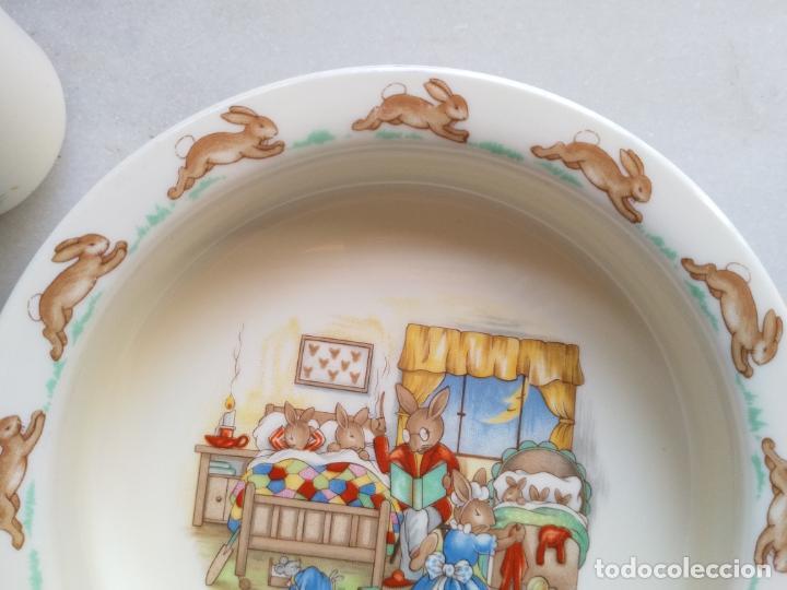 Antigüedades: Juego de tres piezas bebe porcelana Inglesa Royal Doulton Bunnykins - Foto 6 - 194233697