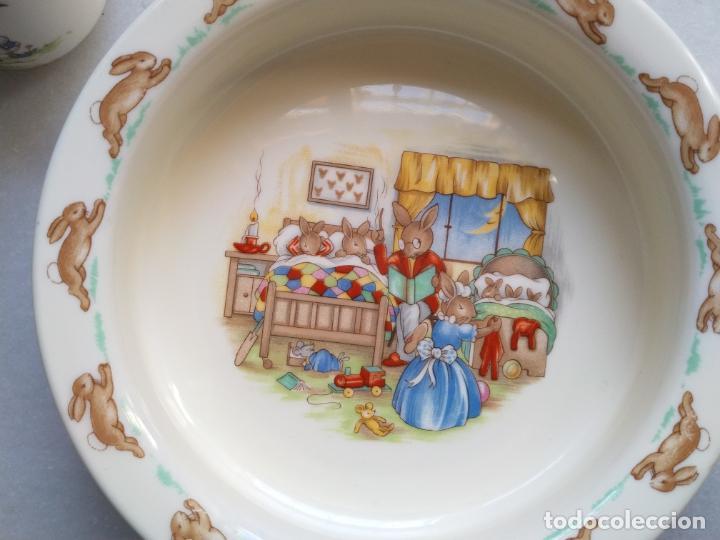 Antigüedades: Juego de tres piezas bebe porcelana Inglesa Royal Doulton Bunnykins - Foto 7 - 194233697