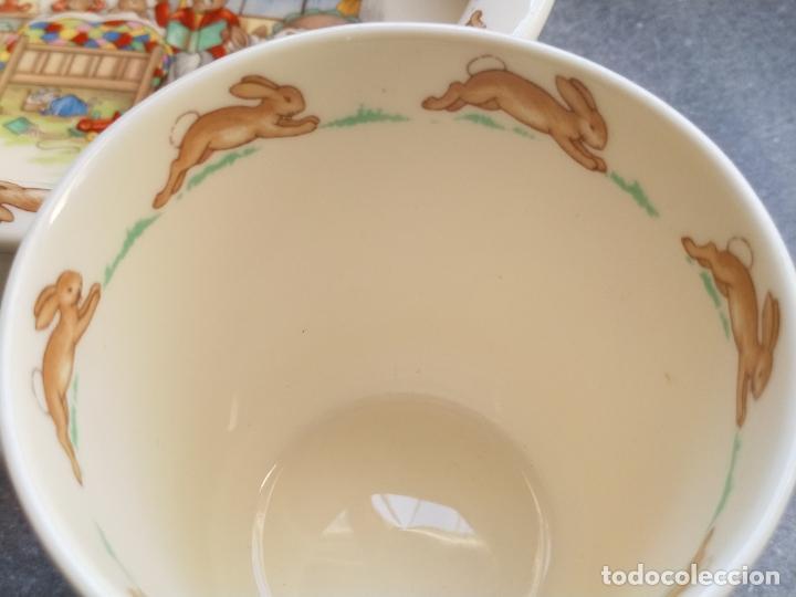 Antigüedades: Juego de tres piezas bebe porcelana Inglesa Royal Doulton Bunnykins - Foto 10 - 194233697
