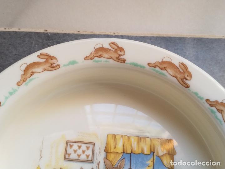 Antigüedades: Juego de tres piezas bebe porcelana Inglesa Royal Doulton Bunnykins - Foto 11 - 194233697