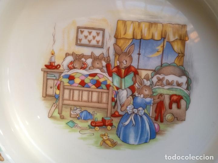 Antigüedades: Juego de tres piezas bebe porcelana Inglesa Royal Doulton Bunnykins - Foto 12 - 194233697