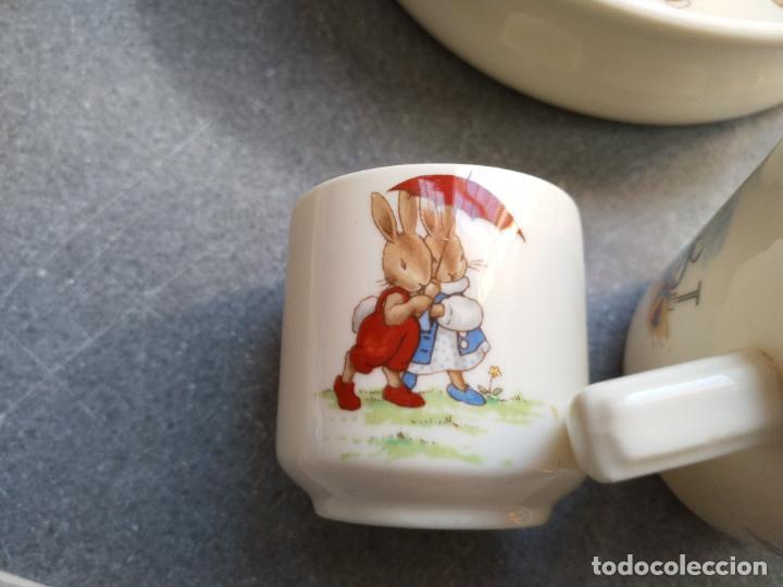 Antigüedades: Juego de tres piezas bebe porcelana Inglesa Royal Doulton Bunnykins - Foto 13 - 194233697