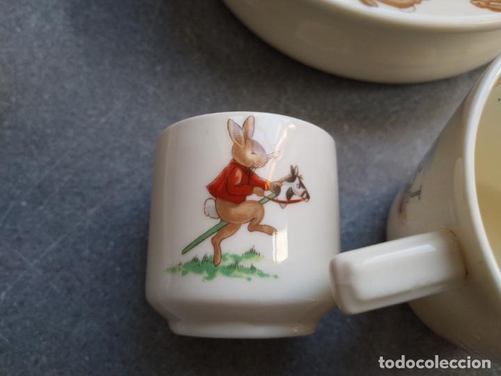 Antigüedades: Juego de tres piezas bebe porcelana Inglesa Royal Doulton Bunnykins - Foto 14 - 194233697