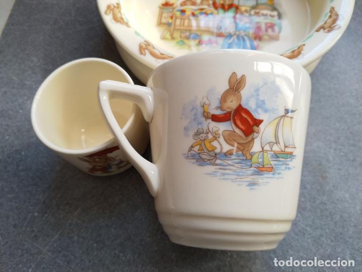 Antigüedades: Juego de tres piezas bebe porcelana Inglesa Royal Doulton Bunnykins - Foto 15 - 194233697