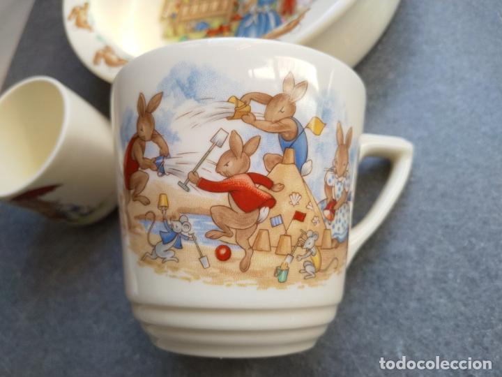 Antigüedades: Juego de tres piezas bebe porcelana Inglesa Royal Doulton Bunnykins - Foto 16 - 194233697
