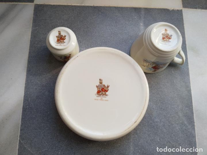 Antigüedades: Juego de tres piezas bebe porcelana Inglesa Royal Doulton Bunnykins - Foto 20 - 194233697