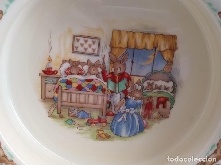 Antigüedades: Juego de tres piezas bebe porcelana Inglesa Royal Doulton Bunnykins - Foto 21 - 194233697