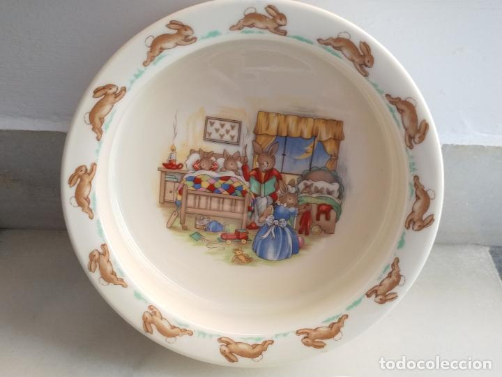 Antigüedades: Juego de tres piezas bebe porcelana Inglesa Royal Doulton Bunnykins - Foto 22 - 194233697