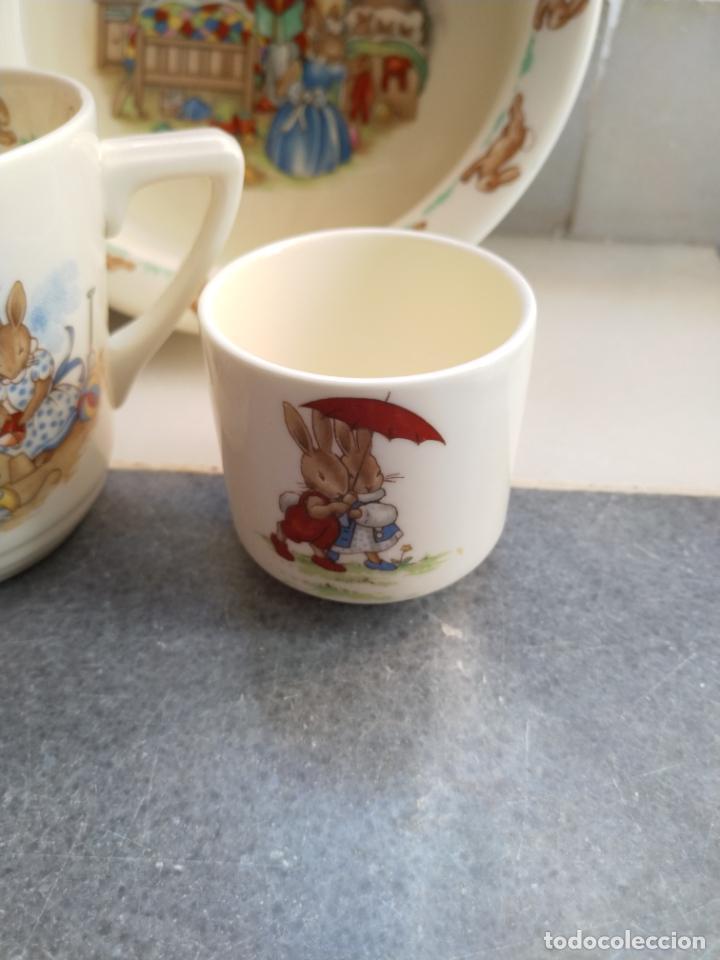 Antigüedades: Juego de tres piezas bebe porcelana Inglesa Royal Doulton Bunnykins - Foto 25 - 194233697
